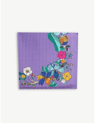Eton Floral and polka dot print silk scarf