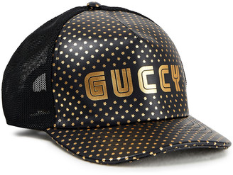 Gucci Metallic Printed Leather And Mesh Baseball Cap