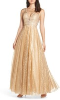 Mac Duggal Sequin Illusion Neck Gown