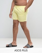 Asos Plus Swim Shorts In Yellow Mid Length
