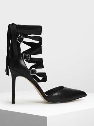 Charles & Keith Lace Up Pointed Pumps