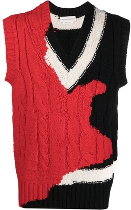 Alexander McQueen Intarsia Cable-Knit Sweater Vest