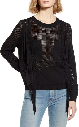 7 For All Mankind Open Weave Fringe Sweater