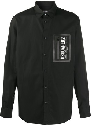 DSQUARED2 Button-Down Cotton Shirt With Zip Patch Pocket