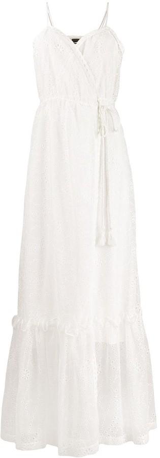 Pinko Eyelet Wrap-Front Maxi Dress