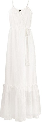 Pinko eyelet wrap-front maxi dress