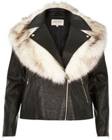 River Island Womens Plus black faux fur trim biker jacket