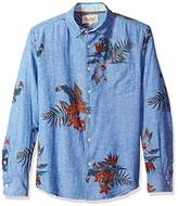 Margaritaville Men's Long Sleeve Chambray Floral Print Shirt