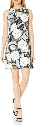 Taylor Dresses Women's Photo Rose Print Shift Dress with Beaded Neck