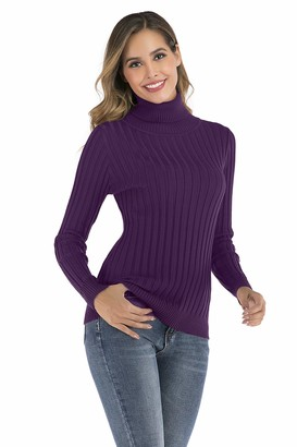 Enjoyoself Womens Long Sleeve Turtle Neck Soft Knit Ribbed Sweater Jumper Knitwear Top