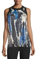 DKNY Sleeveless Printed Laser-Cut Top, Black