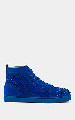 Christian Louboutin Men's Louis Flat Suede Sneakers - Blue