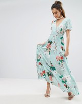 boohoo Floral Detail Button Maxi Dress
