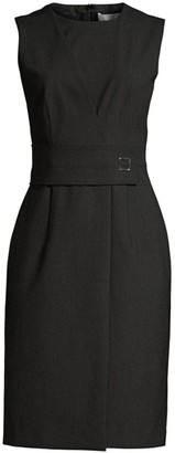 BOSS Dycelia Stretch Wool Pinstripe Faux Wrap Dress