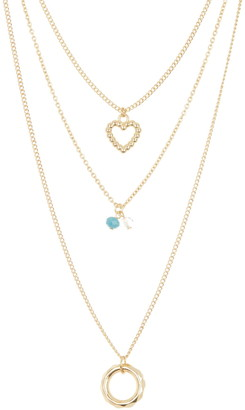 Area Stars Beaded Heart & Circle Layered Chain Necklace