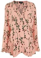 Topshop Maternity rose bud long sleeve wrap blouse