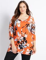 Marks and Spencer PLUS Floral Print 3/4 Sleeve Tunic