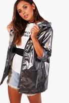 boohoo Petite Sarah Metallic Rain Coat