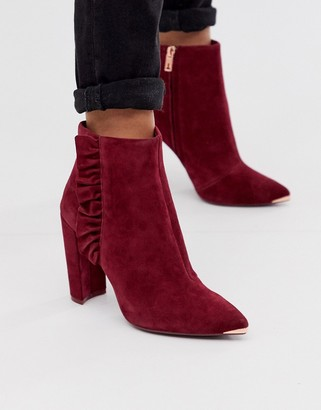 Ted Baker Frillis ruffle heeled ankle boots in berry suede-Black