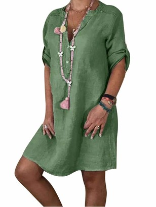 Yidarton Women's V Neck Summer Dresses Casual Roll Sleeve Button Down Midi Dress Solid Color Vintage Ethnic Loose Cotton Linen Sun Dress (Green Medium)