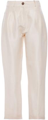 Isolda Pleated Silk-dupioni Tapered Pants