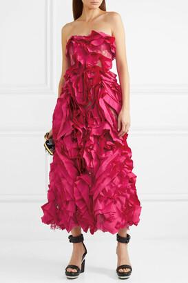 Alexander McQueen - Strapless Ruffled Silk-taffeta And Cotton-blend Lace Gown - Pink