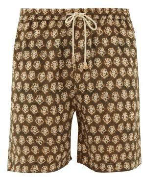 Nanushka Doxxi Batik-print Cupro Shorts - Mens - Khaki Multi