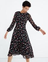 Madewell Sheer-Sleeve Midi Dress in Drifting Flowers