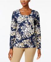Karen Scott Print Long-Sleeve T-Shirt, Created for Macy's