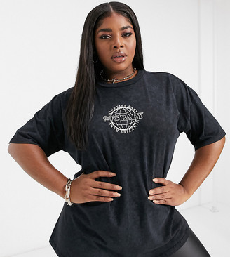 ASOS DESIGN Curve oversized t-shirt with 90s baby logo in charocal wash