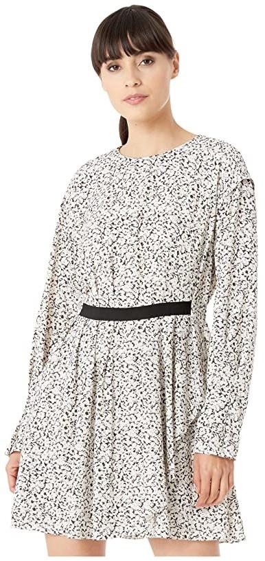 Jason Wu Inverse Floral Long Sleeve Dress (Pearl Multi) Women's Clothing