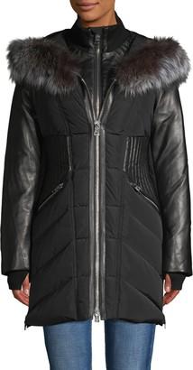 Nicole Benisti Series Courcheval Leather & Fox Fur Trim Down Jacket