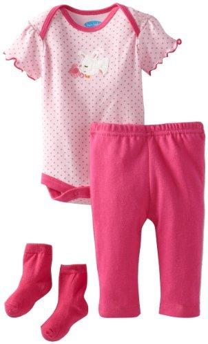 Bon Bebe Baby-Girls Newborn Sweet Bunny 3 Piece Pant Set