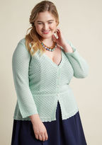 MCS1085 Though the details of this mint sweater are understated, they certainly won't go unnoticed. This sheer cardigan from our ModCloth namesake label charms like no other with its delicate neckline and cuff scallops, peplum waist, and pointelle knit fabric. Th