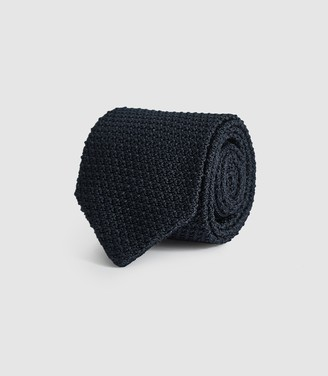 Reiss JACKSON SILK KNITTED TIE Navy