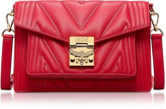 MCM Red Patricia Quilted Small Crossbody Bag