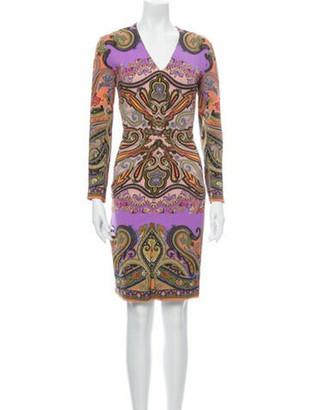 Etro Paisley Print Knee-Length Dress Purple
