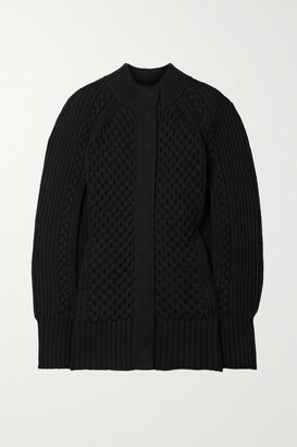 ALEXANDER MCQUEEN - Cable-knit Wool And Cashmere-blend Cape - Black