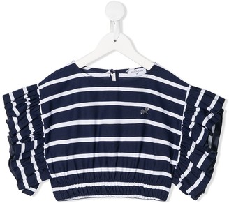 MonnaLisa Striped Ruffle Sleeve Top
