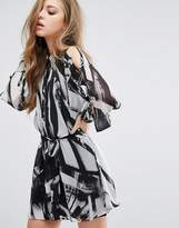 Religion Shirt Dress With Tie Up Bow Sleeves And Slip Dress