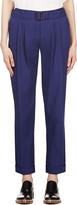 Veronique Branquinho Navy Blue Belted Cotton Trousers
