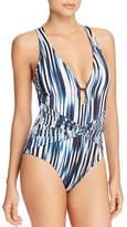Athena Blue Horizon Twist-Front Plunge One Piece Swimsuit