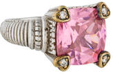 Judith Ripka Pink Crystal & Diamond Ring
