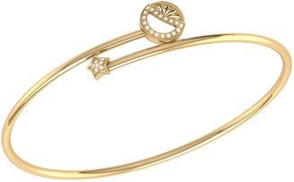 Lmj Half Moon Star Bangle In 14 Kt Yellow Gold Vermeil On Sterling Silver