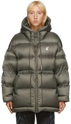 Off-White Khaki Belted Puffer Jacket