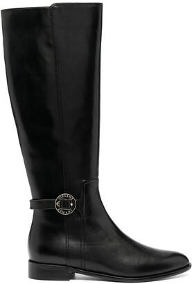 Emporio Armani Logo Buckle Knee-High Boots