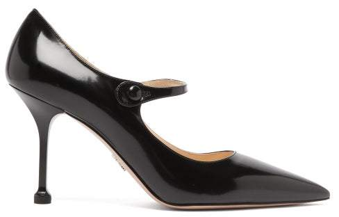 bd61d89eb4d Pointed Mary Jane Leather Pumps - Womens - Black