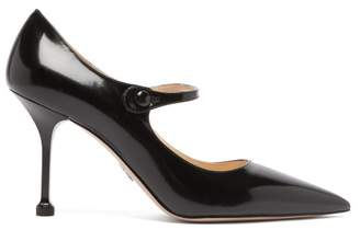 Prada Pointed Mary Jane Leather Pumps - Womens - Black