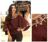 Artisan Crafted Cotton Embroidered Brown Blouse, 'Cool Dusk'