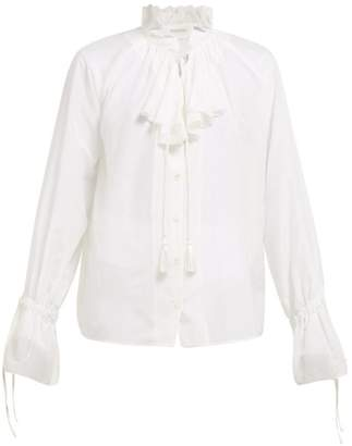 Etro Suffolk Ruffled Cotton Blend Blouse - Womens - White